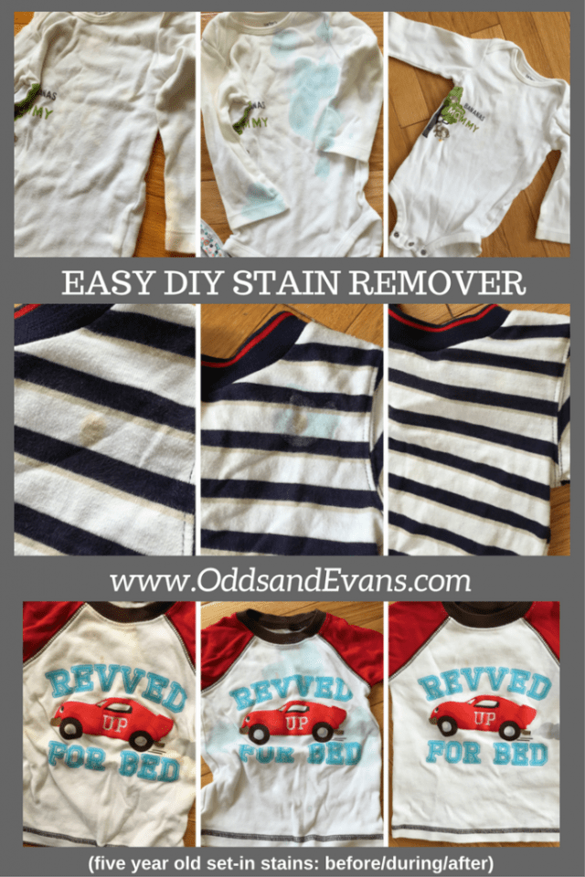 Easy homemade DIY stain remover recipe baby clothes kid clothes get stains out
