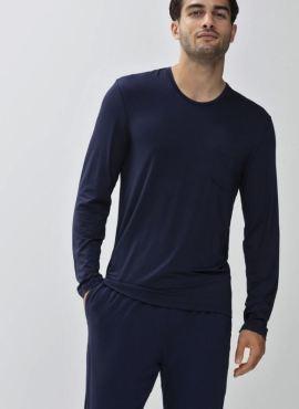 MEY Jefferson Lounge Pyjama Langarm Shirt yacht blue MicroModal