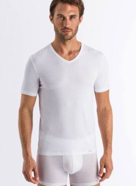 Hanro Natural Function V Shirt Kurzarm TENCEL™ Lyocell weiß
