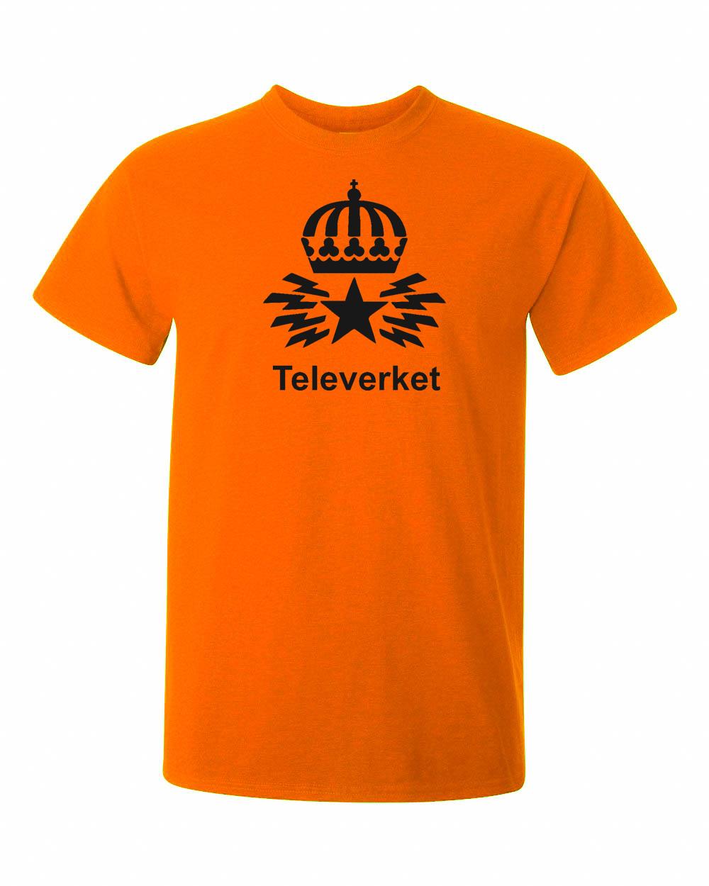 Televerket och den gamla logga på tshirt i orange färg. Vintage och nostalgi i samma andetag