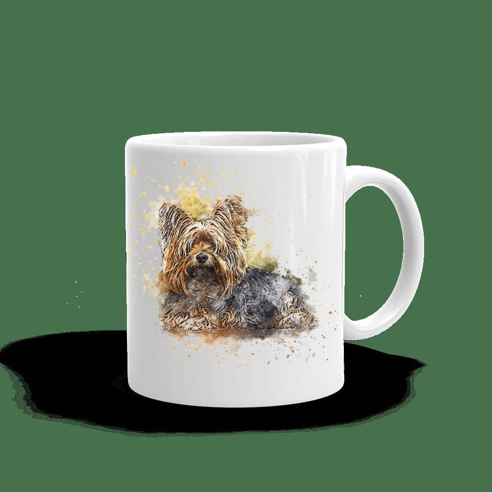 mugg med tryck av en yorkshire terrier hund
