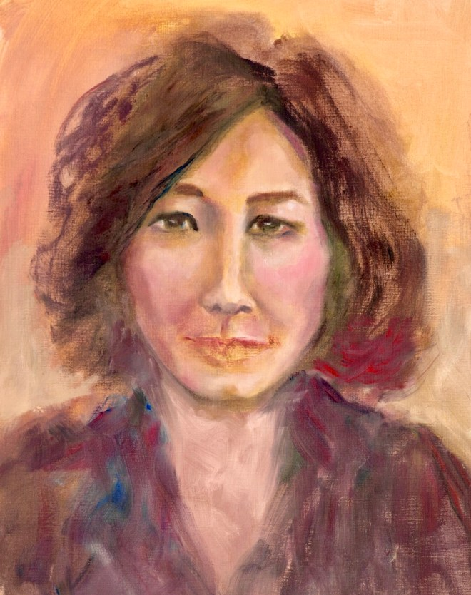 An oil on canvas portrait of a woman with brown hair by Odette Laroche in Sidney, BC.