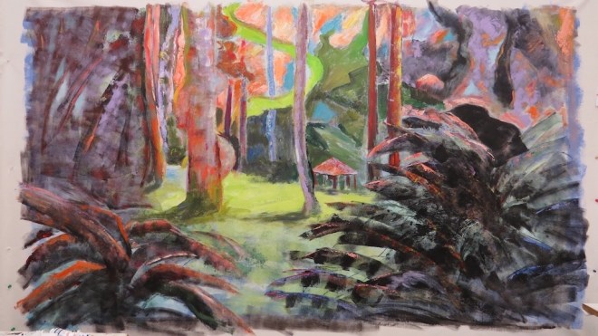 An acrylic painting of the lush scenery at Beacon Hill Park by Odette Laroche in Sidney, BC.