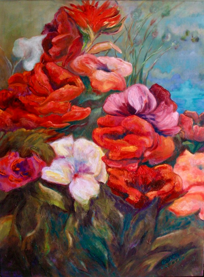 An oil on canvas painting of red flowers growing wild in nature by Odette Laroche in Sidney, BC.