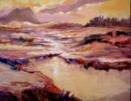 An oil on canvas painting of a hilly landscape painting gold and red by the sunset by Odette Laroche in Sidney, BC.