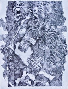 An abstract pencil drawing which contains a scene with Louis Armstrong and his trumpet by Odette Laroche in Sidney, BC.