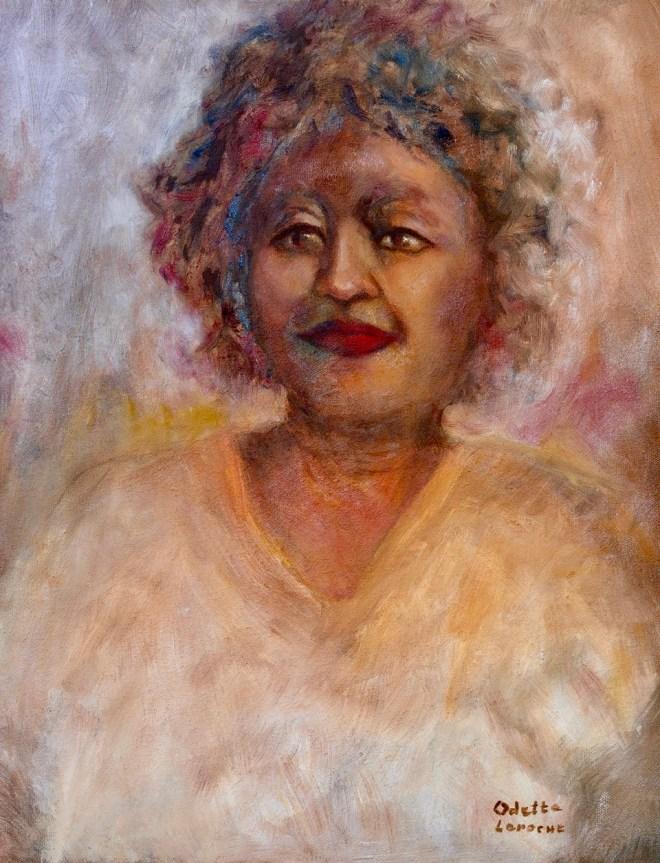An oil on canvas portrait of a woman by Odette Laroche in Sidney, BC.