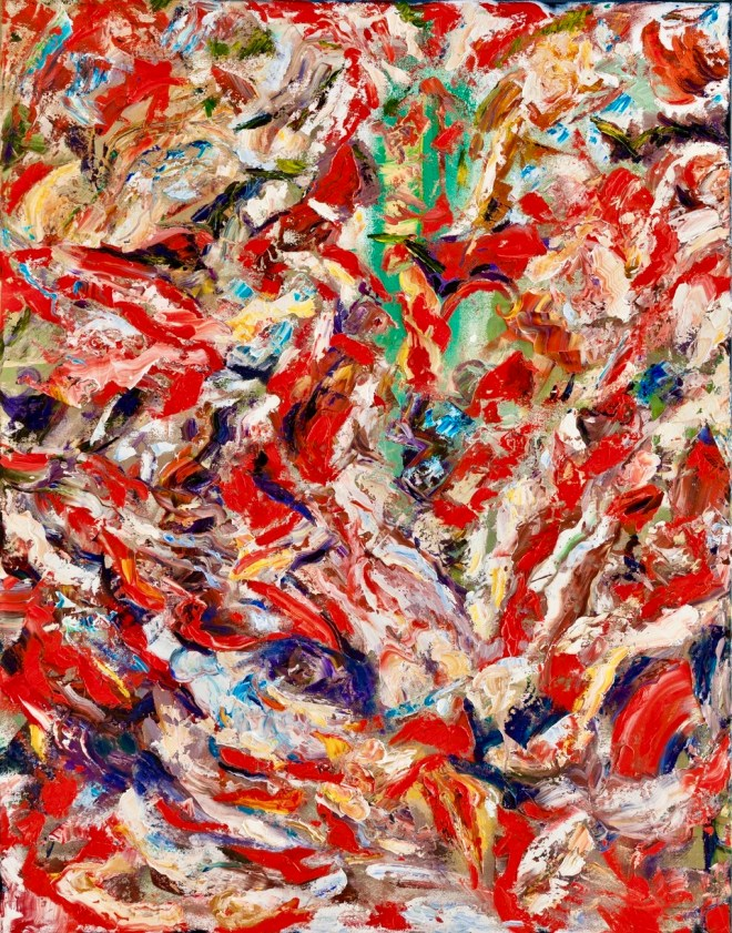 An abstract oil on canvas painting by Odette Laroche which is predominantly red and white, with small sections of green and blue, which appears to be a run of salmon through a river.