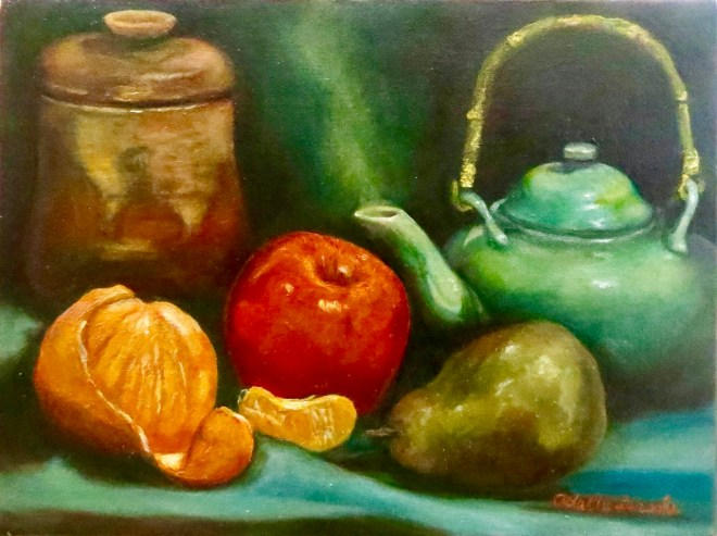 An oil on canvas still-life painting of some fruit and a steaming pot by Odette Laroche in Sidney, BC.