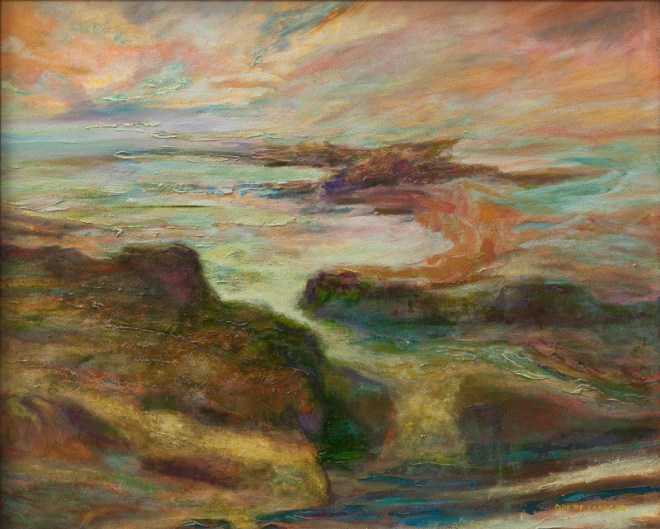 An oil on canvas painting of a cove at sunrise which blends many different colours by Odette Laroche in Sidney, BC.