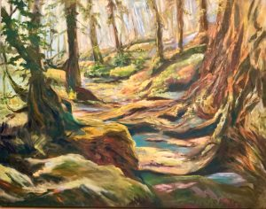 An oil on canvas painting of a rough path going through a lush forest on a bright day by Odette Laroche in Sidney, BC.