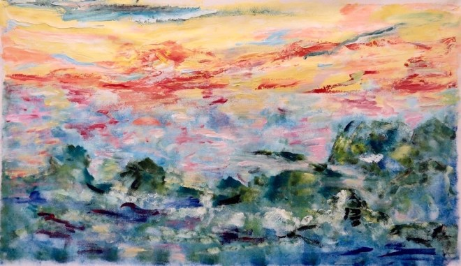 An acrylic painting of a sunset over a choppy sea by Odette Laroche in Sidney, BC.