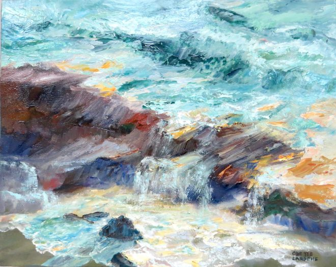 An oil on canvas painting of water flowing over some rocks on a beach by Odette Laroche in Sidney, BC.
