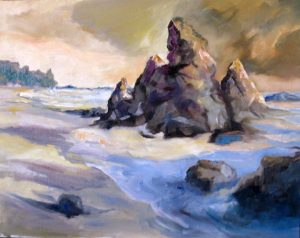 An oil on canvas painting of a large rock formation sticking out of the ocean by a sandy beach by Odette Laroche in Sidney, BC.