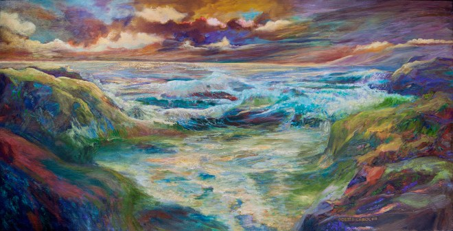 An oil on canvas painting of a Pacific sunset with an incredible amount of colour by Odette Laroche in Sidney, BC.