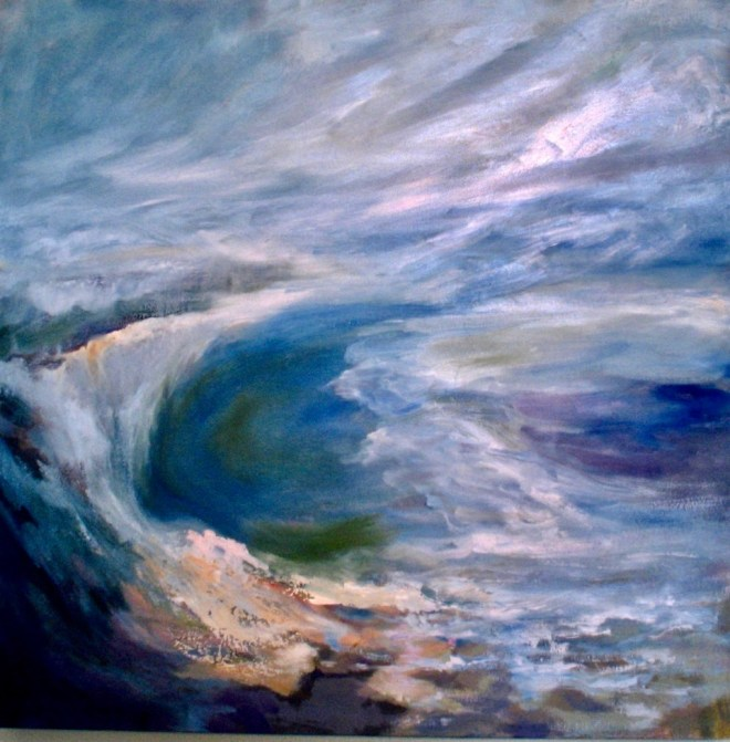 An oil on canvas painting of a windy seascape in Newport Beach, CA by Odette Laroche in Sidney, BC.
