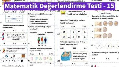 Photo of İlkokul 1.Sınıf Matematik Değerlendirme Testi – 15
