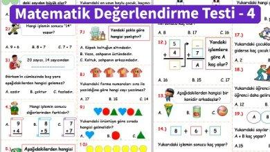 Photo of İlkokul 1.Sınıf Matematik Değerlendirme Testi – 4