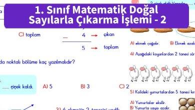Photo of İlkokul 1. Sınıf Matematik Doğal Sayılarla Çıkarma İşlemi – 2
