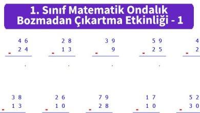 Photo of İlkokul 1. Sınıf Matematik Ondalık Bozmadan Çıkartma Etkinliği – 1