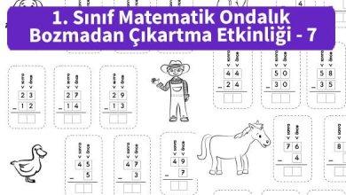 Photo of İlkokul 1. Sınıf Matematik Ondalık Bozmadan Çıkartma Etkinliği – 7