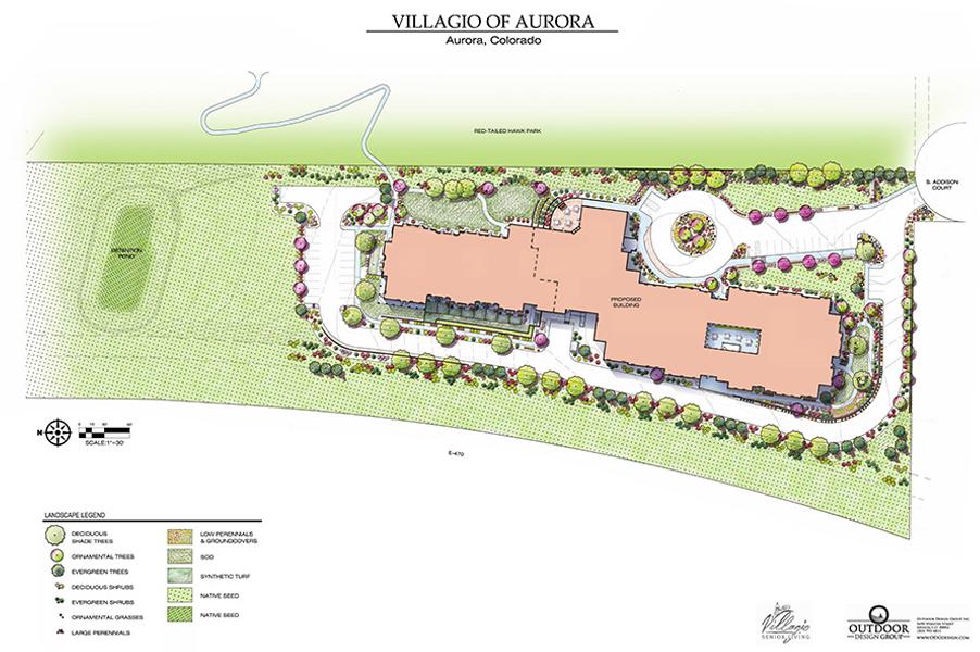 Villagio of Aurora Senior Living Landscape Plan