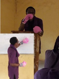 The Lecturer with boxing gloves