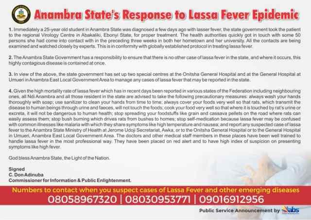 Anambra State's Response to Lassa Fever