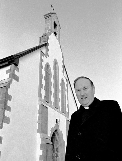 Fr Kieran O'Shea pictured 4 March 1993 launching campaign to replace roof on parish church of St Mary's Knocknagoshel. Photo by John Reidy