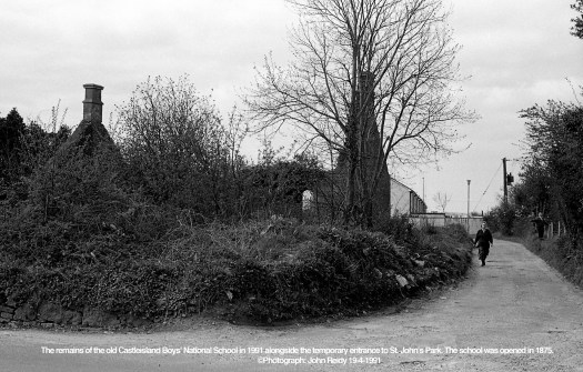 The remains of the old Castleisland Boys' National School in 1991 alongside the temporary entrance to St. John's Park. The school was opened in 1875. ©Photograph: John Reidy 19-4-1991