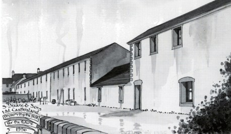Artist, Peter Robin Hill's impression of the Workhouse in Castleisland. From Divanes Castleisland Calendar 1996