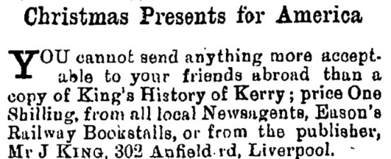 Ad in Kerry Sentinel 20 Nov 1907