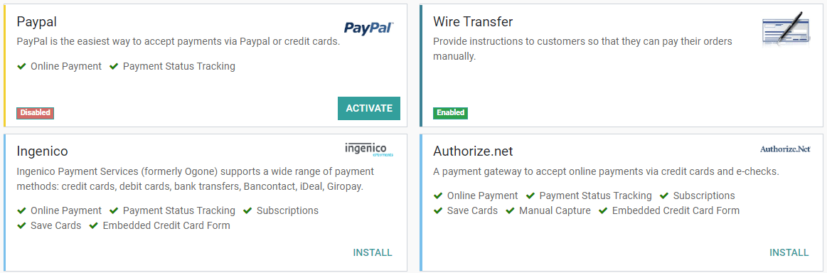 Payment Acquirers Credit Cards Online Payment Odoo 13 0 Documentatie