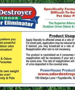 Odor Destroyer Dry - Product Label (back)
