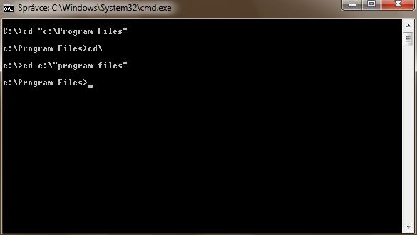 Jak v příkazovém řádku psát názvy adresářů obsahující mezery?