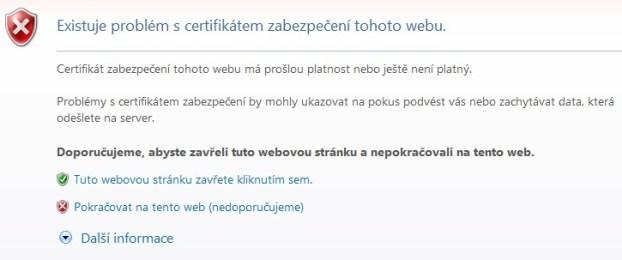 Co s chybou: Existuje problém s certifikátem zabezpečení tohoto webu?