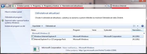 Jak odinstalovat Internet Explorer?