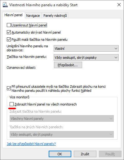 Jak odstranit menu se start tlačítkem z druhého monitoru?