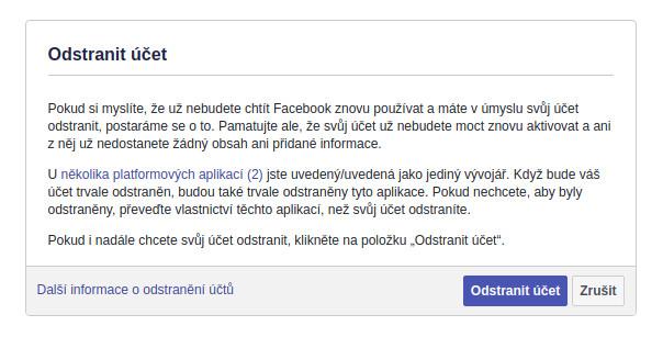Smazání účtu z FB