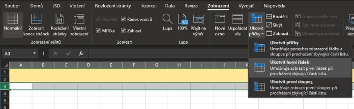 Jak v Excelu ukotvit řádky, sloupce nebo obojí?