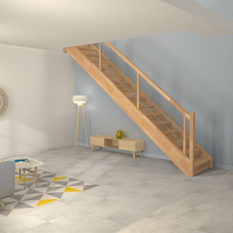 escalier droit sur mesure contemporain en bois et en inox oeba