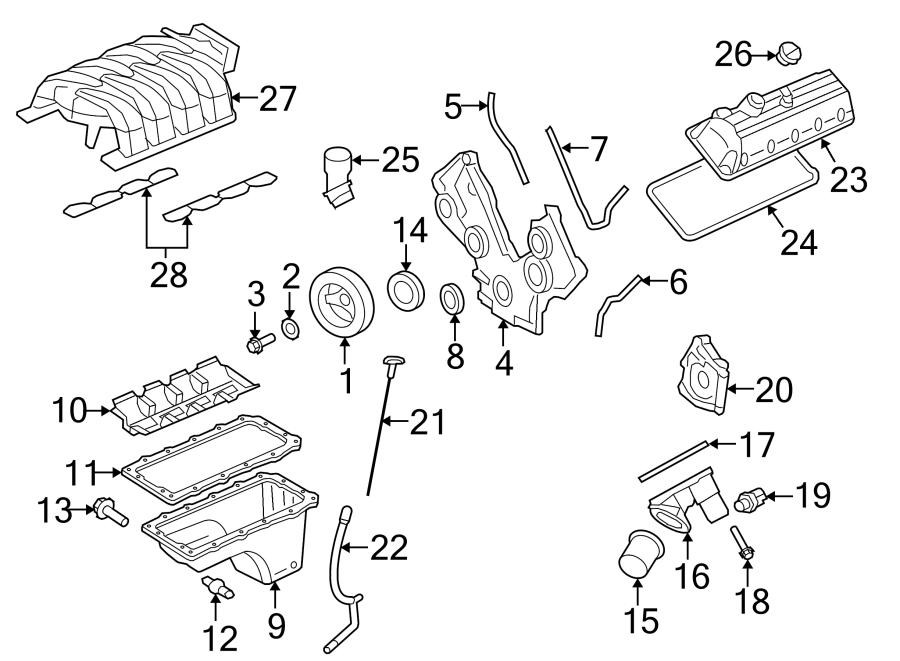 Ford Mustang Engine Crankshaft Seal. LITER, Timing, Front