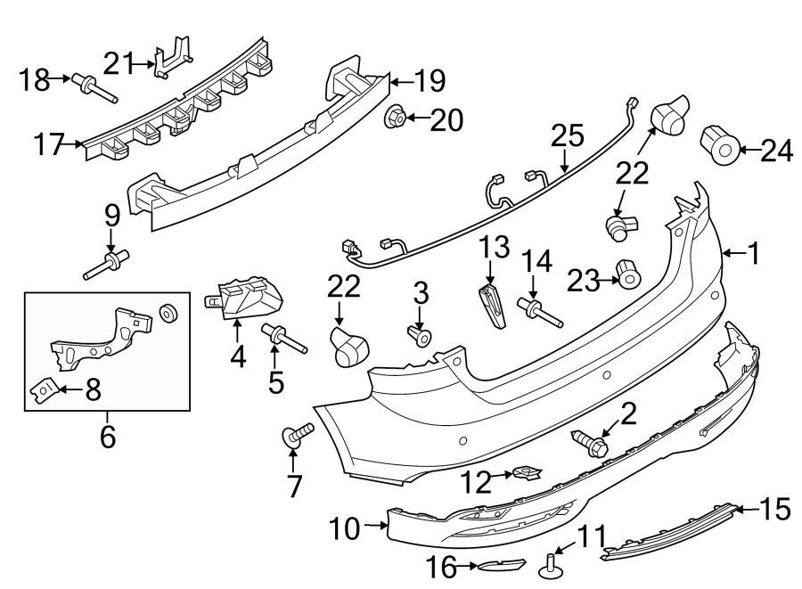Ford Focus Parking Aid System Wiring Harness. Rear