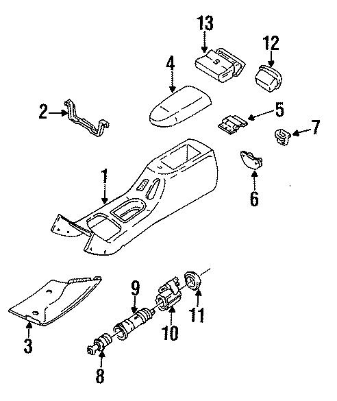 Ford Contour Console Lid Striker. 1995-97. 1998-00. 2000