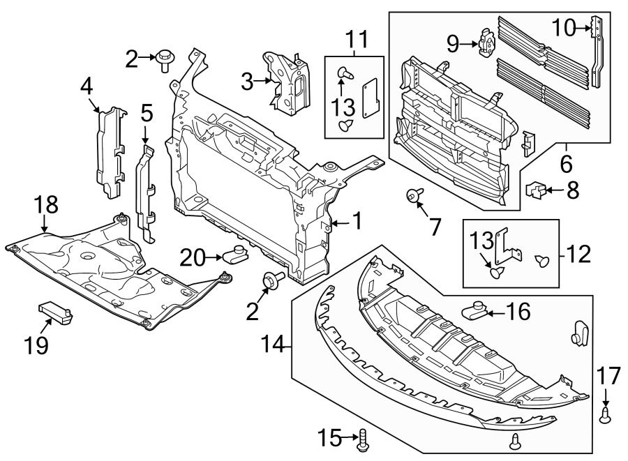 Ford Taurus Radiator Support Baffle (Upper). 2013-18, 2.0