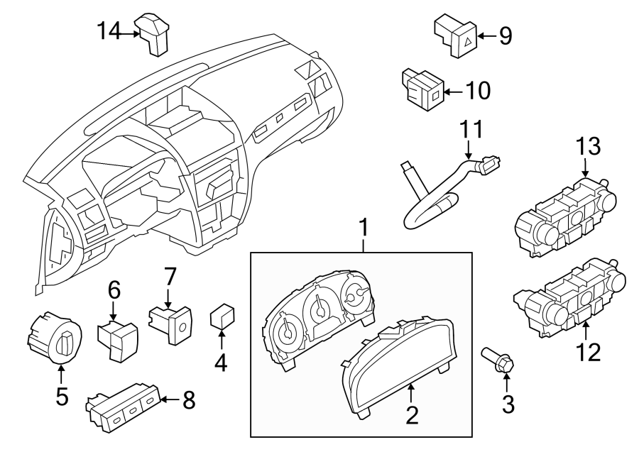 Ford Fusion Cabin Air Temperature Sensor. Panel