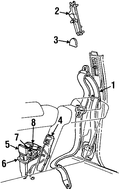 Lincoln Town Car Seat Belt Lap and Shoulder Belt. Ivory