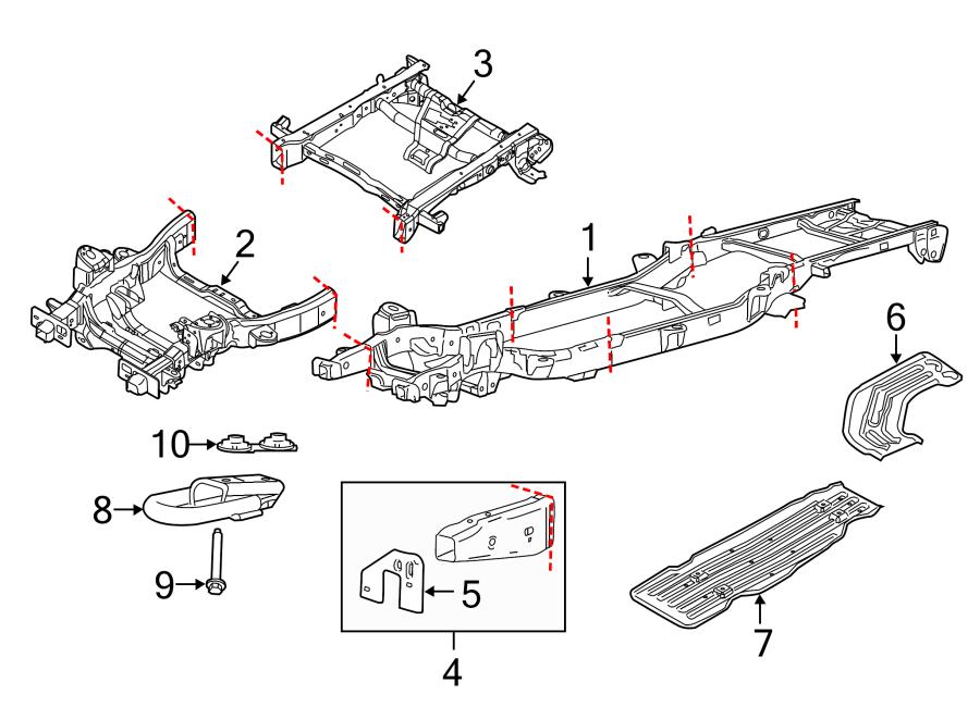 Ford F-150 Frame Rail. FRAME & CROSSMEMBERS, w/o 4WD