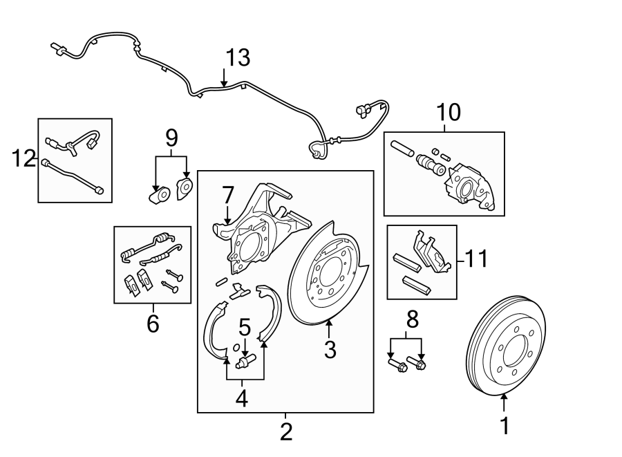 Ford F-150 Abs wheel speed sensor. Left, rear, brake