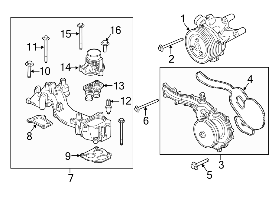Ford F-350 Super Duty Engine Coolant Thermostat Kit. 6.7